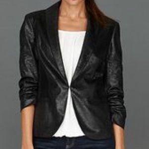 INC Shimmery Modern Black Blazer Ruched Sleeves L